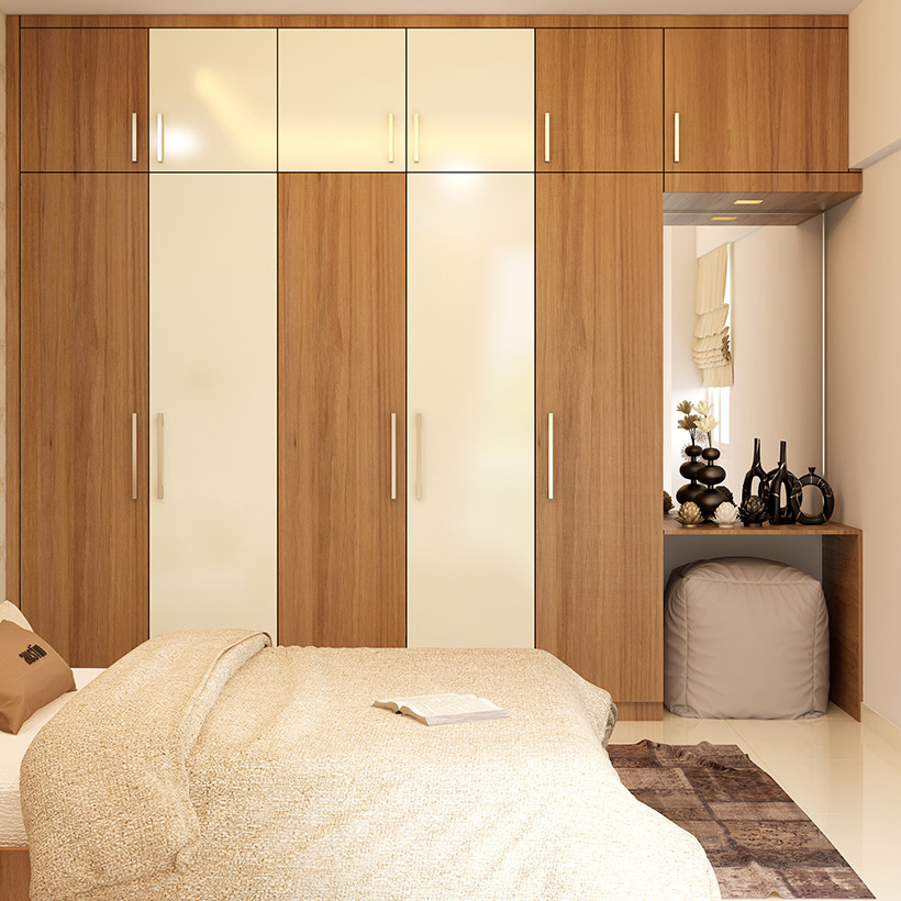 Wardrobe with dressing table design will give you practical storage solution and a mirror
