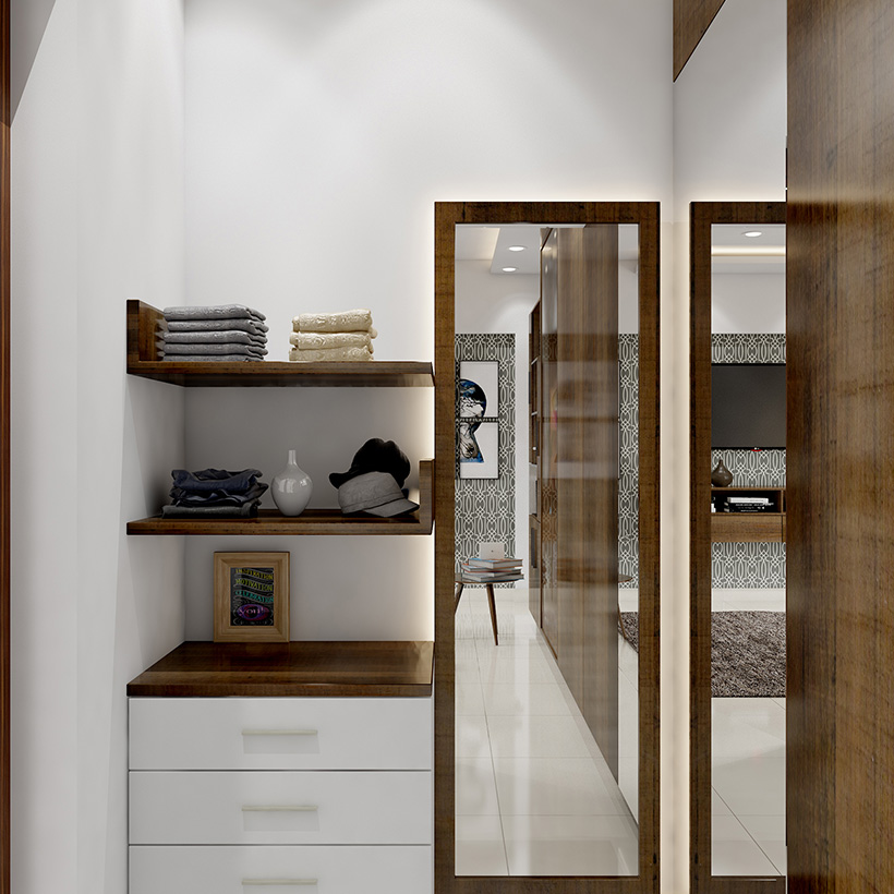Dressing cabinet design is quite smart, with set of drawers mounted on the wall to make stylish dressing room design