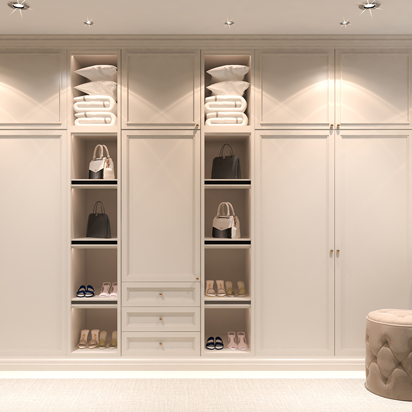 Simple scandinavian style dressing room design with its elegant lines and its type of dressing room furniture