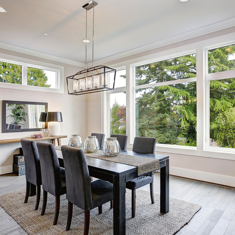 The bright feel gives a good look for dining room lighting with big and spacious windows almost covering the walls of dining room design