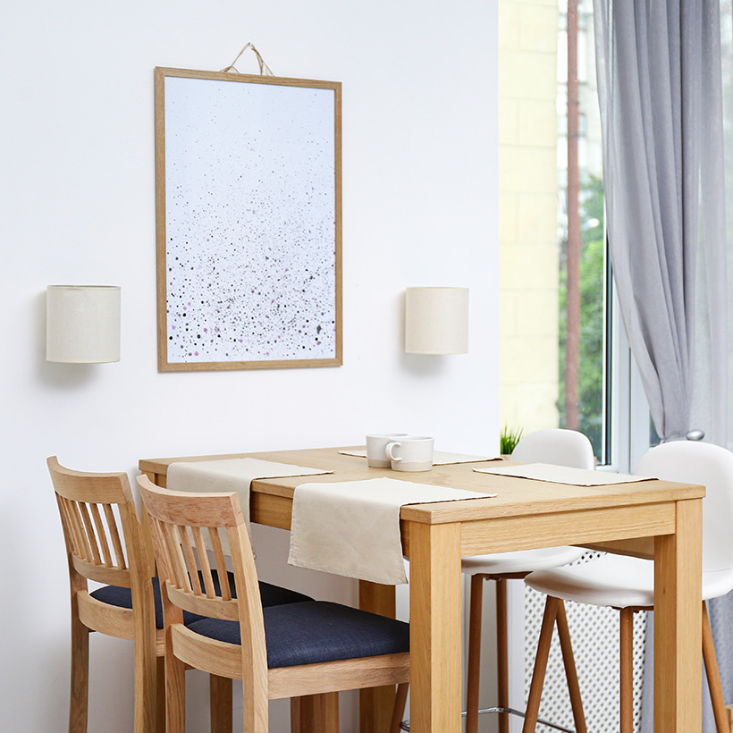 A small dining table with exactly of feel of a restaurant with a very bright colour and wall colour also as bright as modern dining room ideas