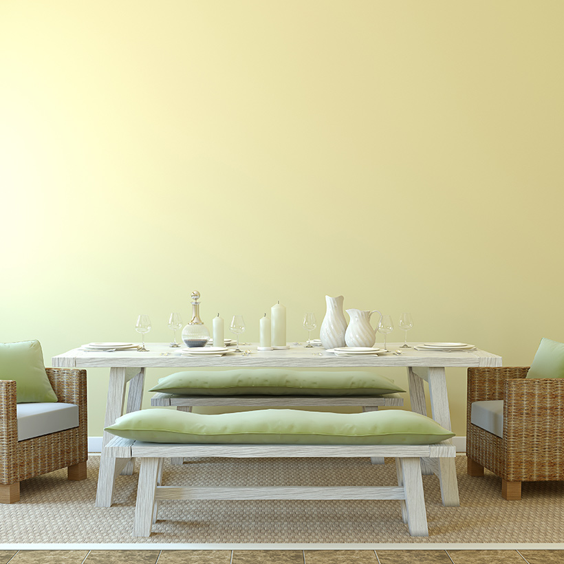 Dining room ideas for your home with a simple design of small sofa's chairs with a small cushion made up of wood in dining room interior design