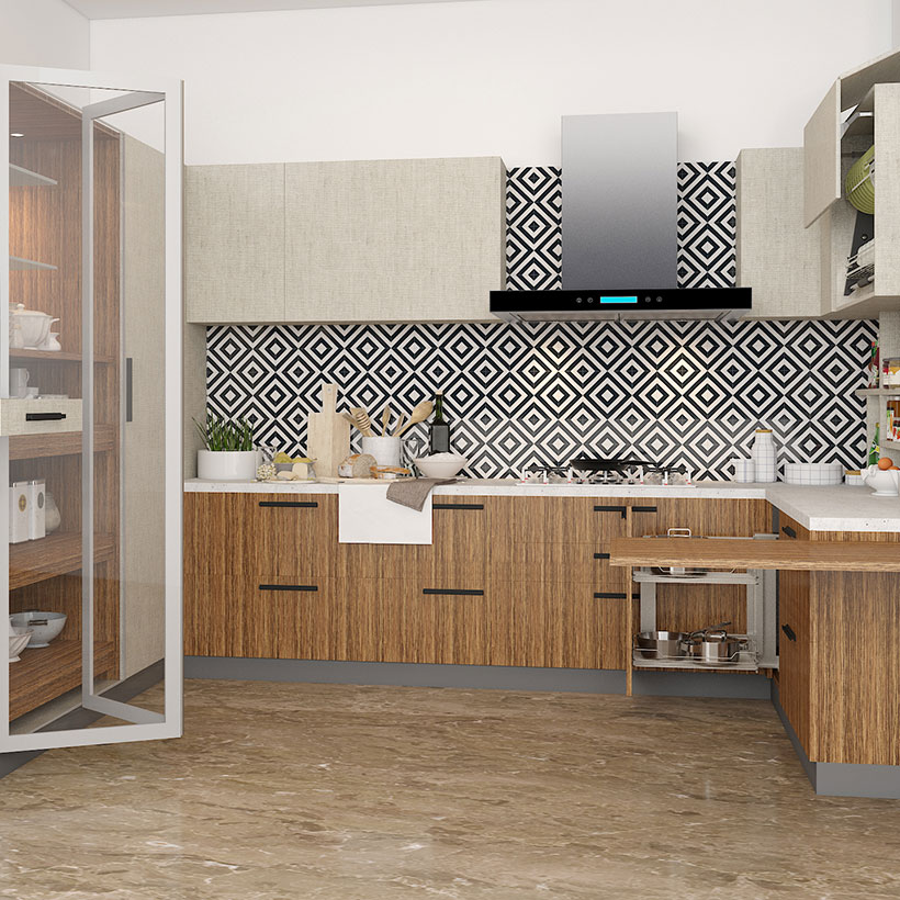 Add a floor to ceiling sized mirror that will make your kitchen space appear wider, its a small kitchen furniture design