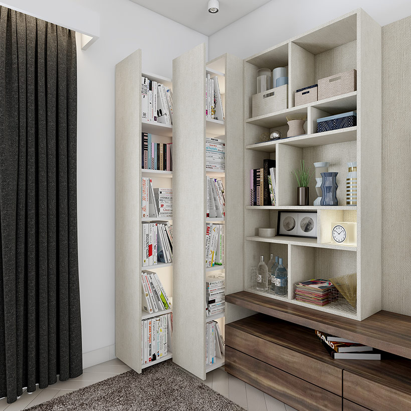 Wooden Maze showcase designs for walls designed with pull out tall units are modern living room designs
