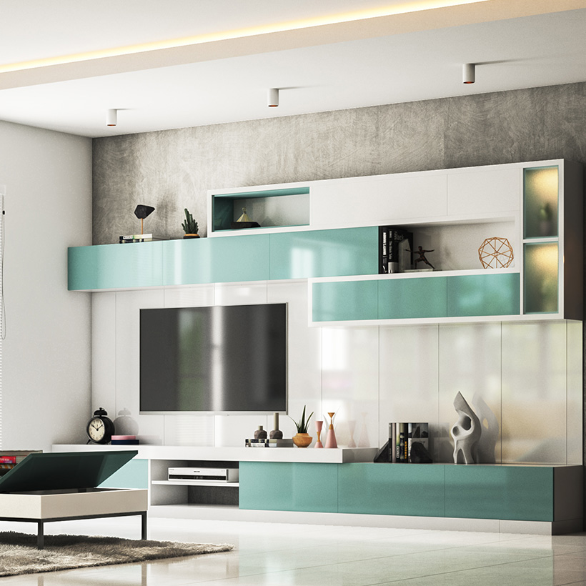 Latest Wall hanging or mounted showcase designs are modern furniture designs made of simple glass