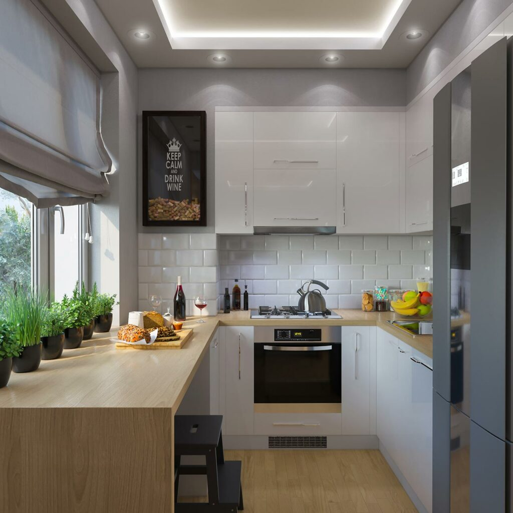 A grey fell parallel modular kitchen with a big window on a large countertop made up of wood
