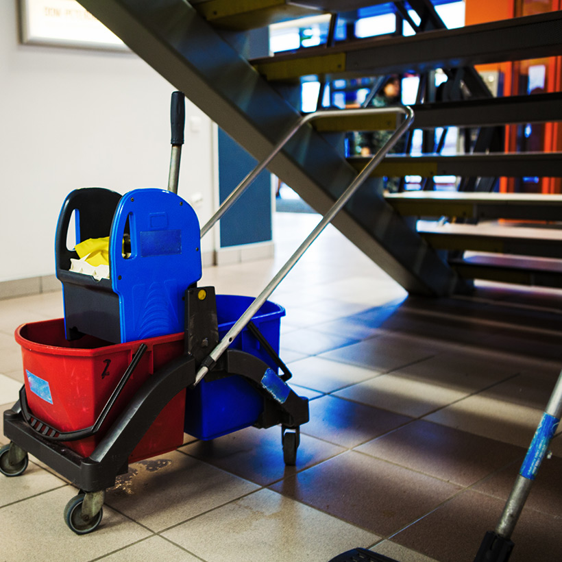 Interior design under staircase with utility room and store machines under the staircase