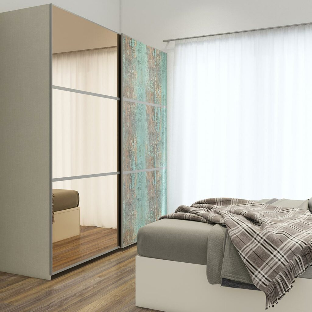 Sliding wardrobes with mirror for bedroom with a rustic finish on one side and Glass on the whole other side with a large curtain on the window