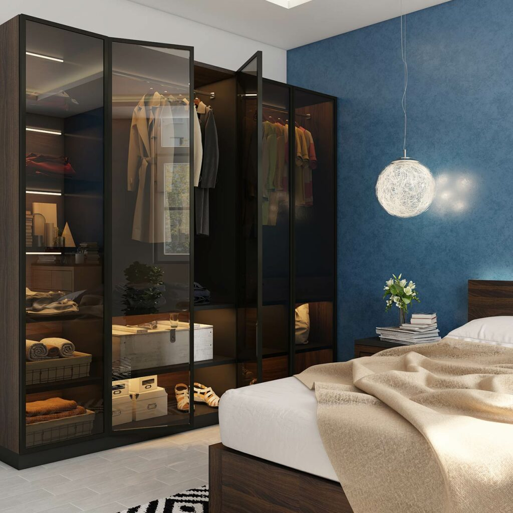 indian bedroom designs wardrobe photos with a blue coloured wall and a hanging lamp and a bedside table with lights inside the wardrobe with sliding door wardrobe designs for bedroom indian