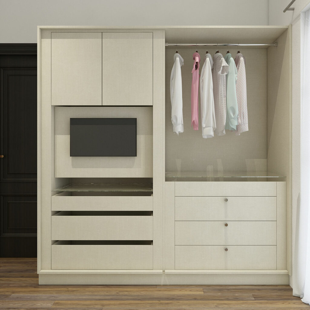 Wooden wardrobe designs for bedroom with space for hanging clothes in it and drawers to keep your ties and socks with a hidden TV unit for wardrobe designs for small bedroom indian