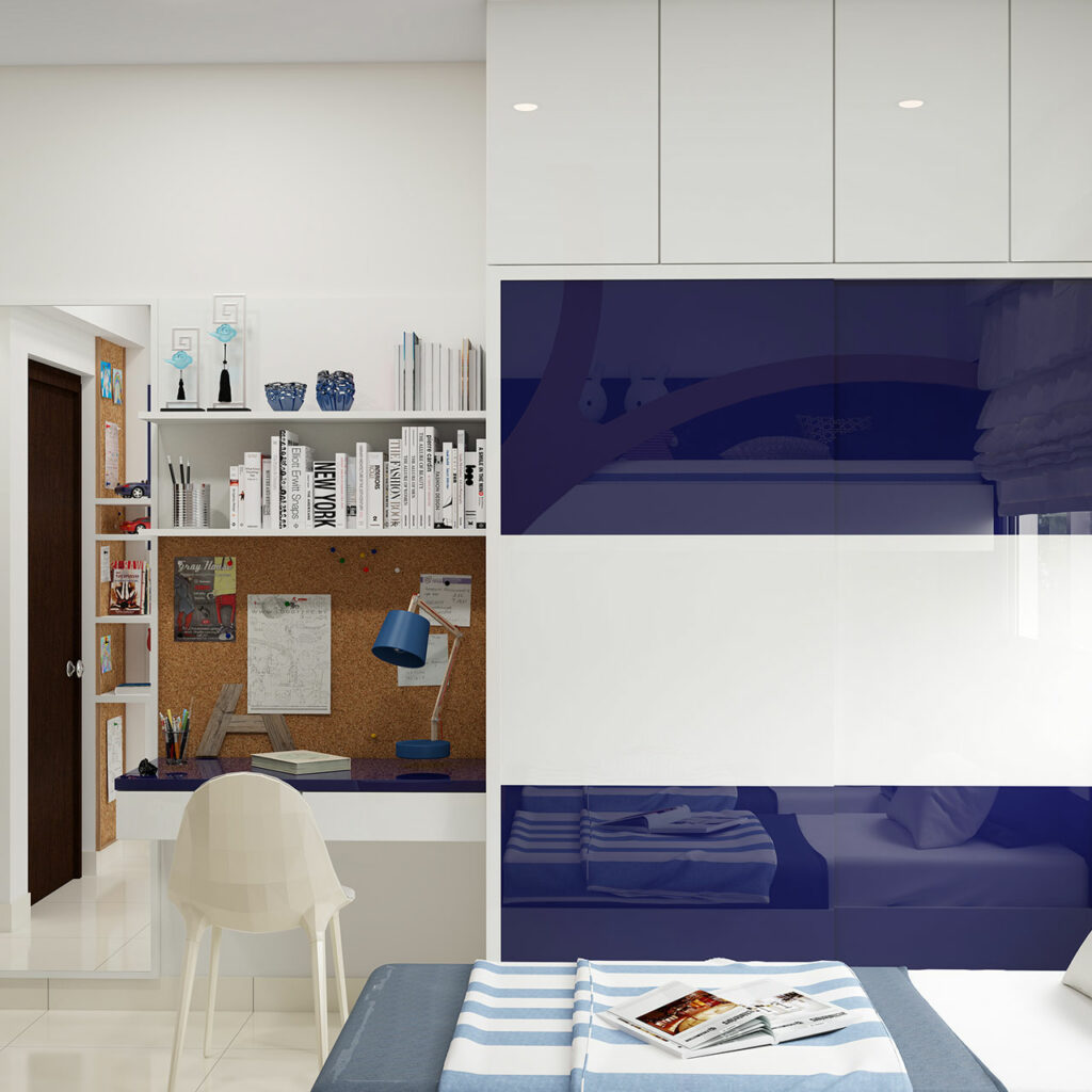Master bedroom wardrobe designs for your bedroom with blue colour on it and an elegant white coloured chair and a study desk with book storage above which completes a bedroom wardrobe design catalogue