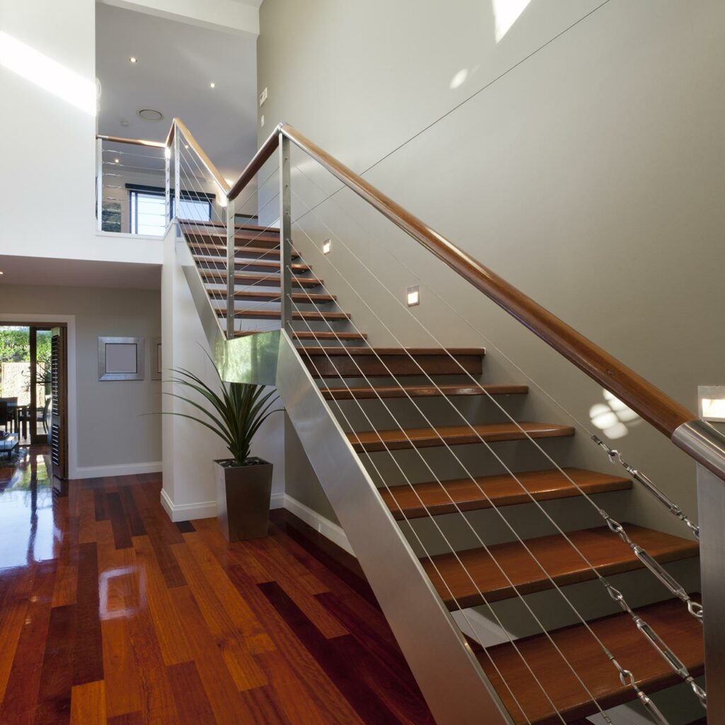 Steel staircase design, steel is literally a strong staircase design idea for indian homes