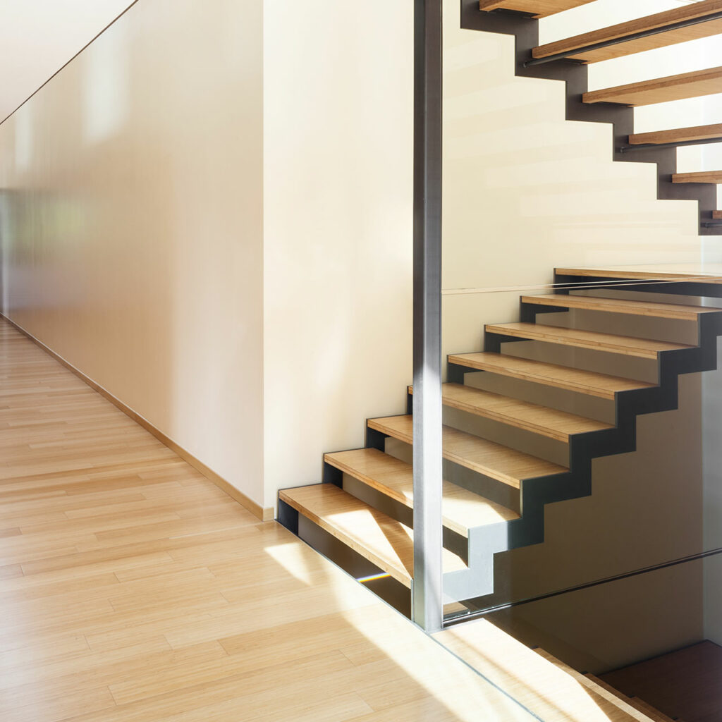 Open staircase design comes with no railings or support and this kind of staircase design serves as a storage space