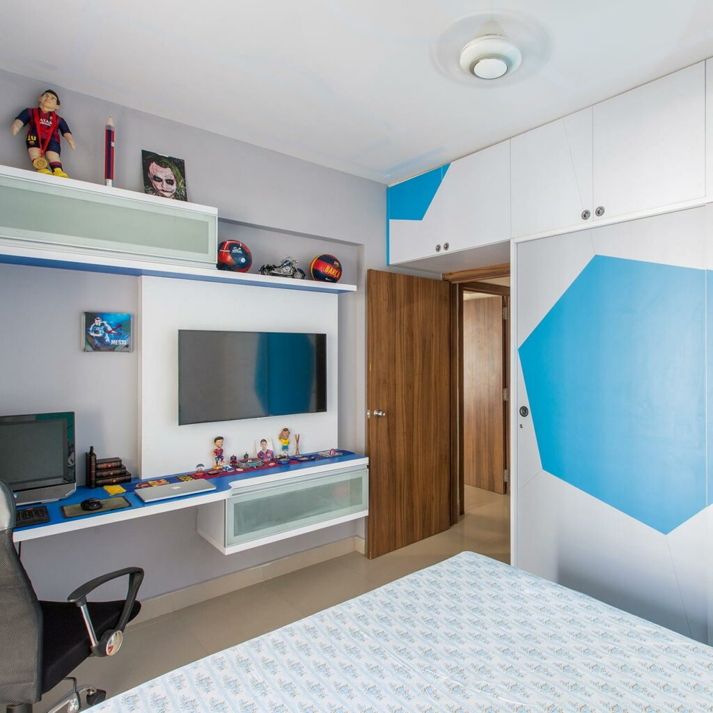 Sliding door wardrobe interior designs has truncated icosahedron pattern synonymous with football theme
