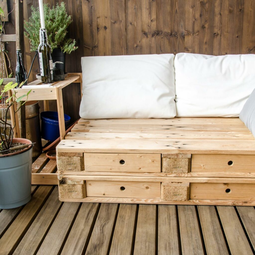 Furniture made up of scrap recycled wood which is a perfect to design small balcony garden ideas