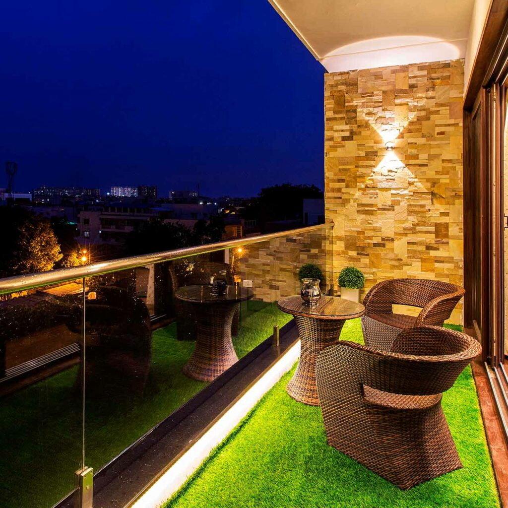 Look and feel of the balcony space perfectly with stylish lighting while design your indian balcony design