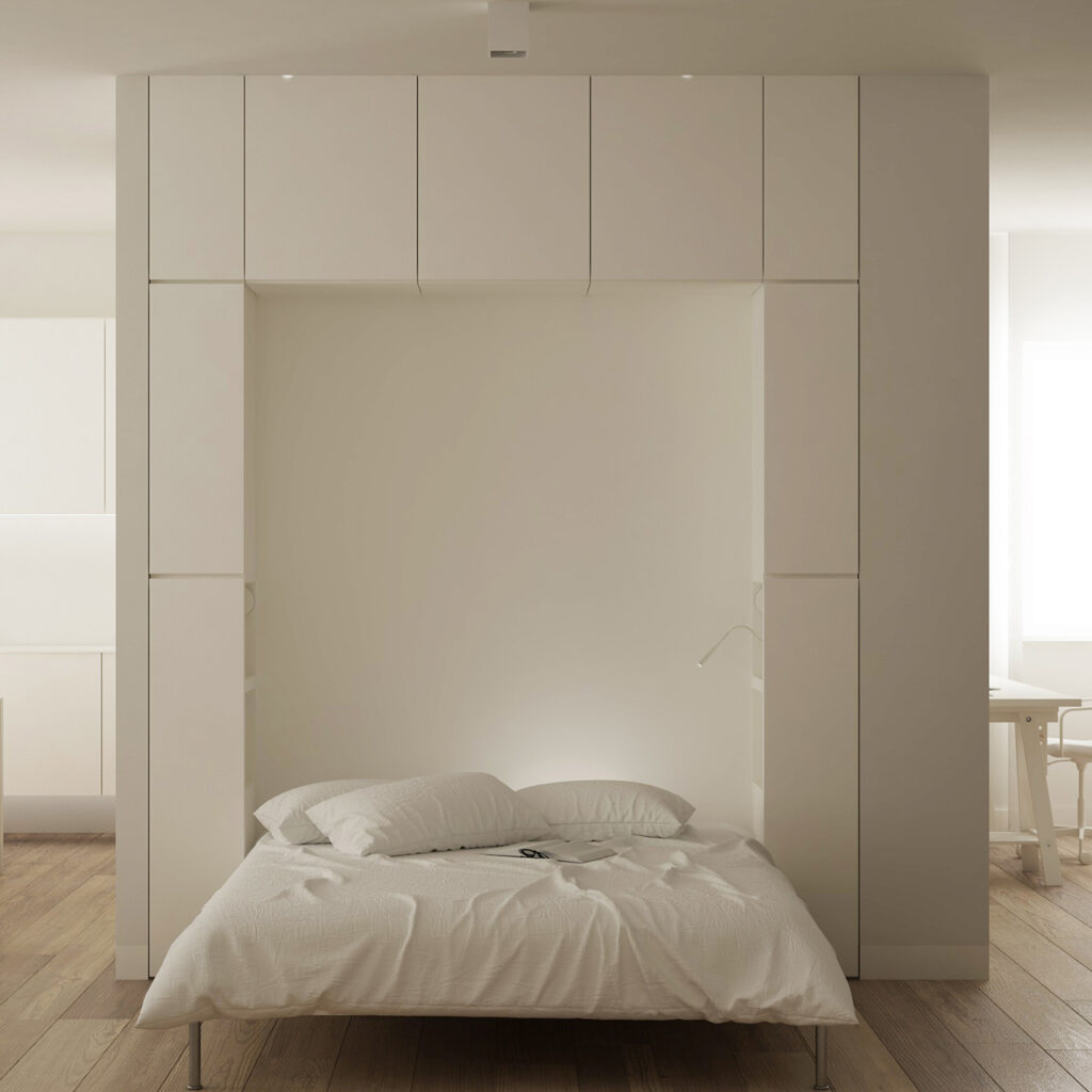 Up and down bed with invisible bed when folded up is a unique pull out double bed innovative design.