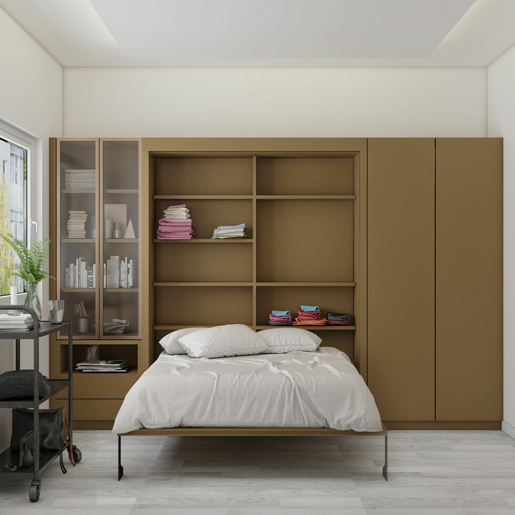 Wall folding bed design with a wardobe acts as a Murphy bed with invisible storage and space saving technique.