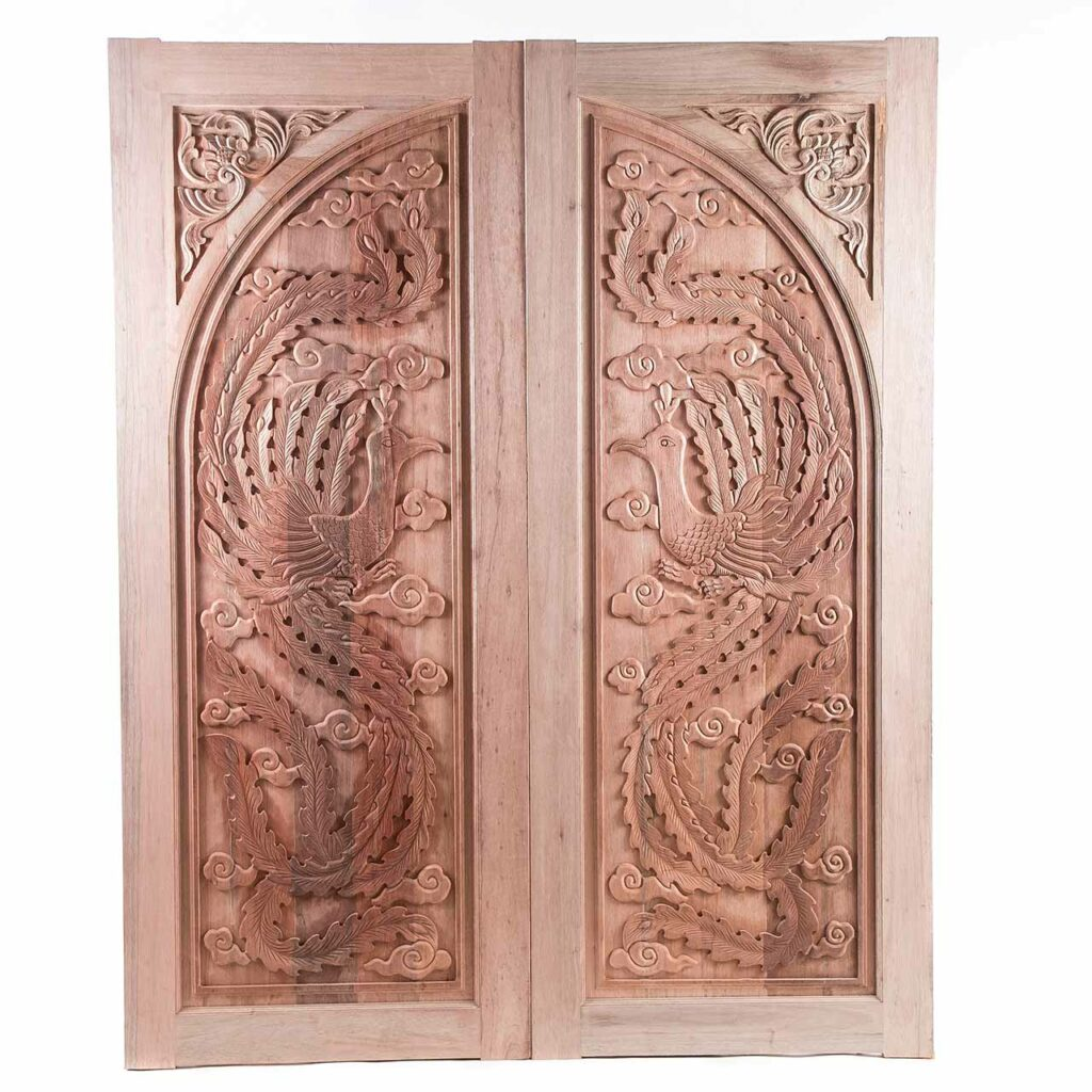 Pooja room door design with an ancient temple style look