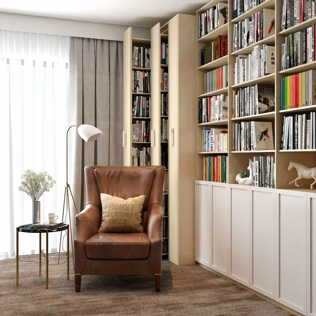 Space Saving Storage Ideas - Shelves Of Books That Can Be Discreetly Hidden And Pulled Out When Needed