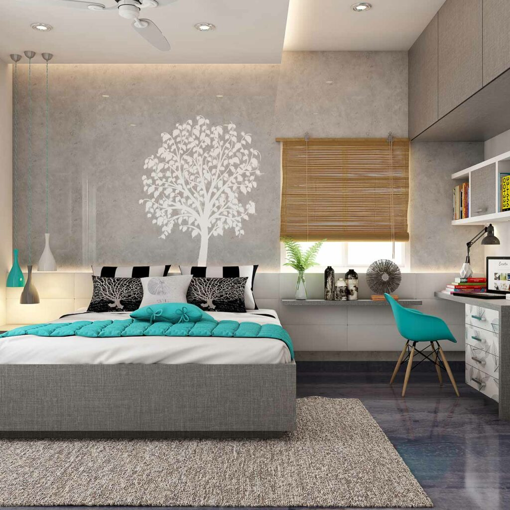 Use bedroom false ceilings to zone the sleeping area from the working area