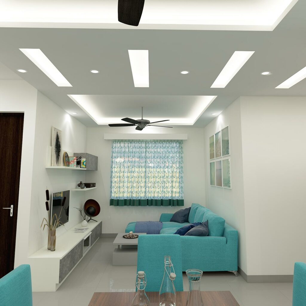 Use different textured shapes that lend interest to living room false ceilings, it is a best false ceiling design idea for living room