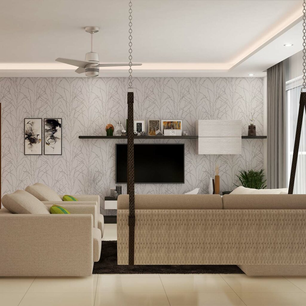 Living room false ceilings often need to fixed with ac piping, sprinklers, smoke detectors