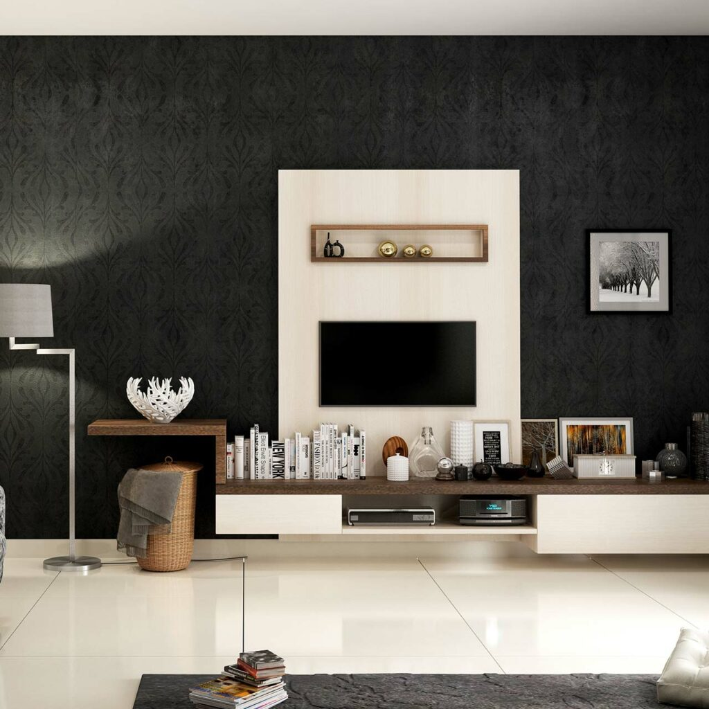 TV unit design for master bedroom to highlight a striking tv unit panel for bedroom