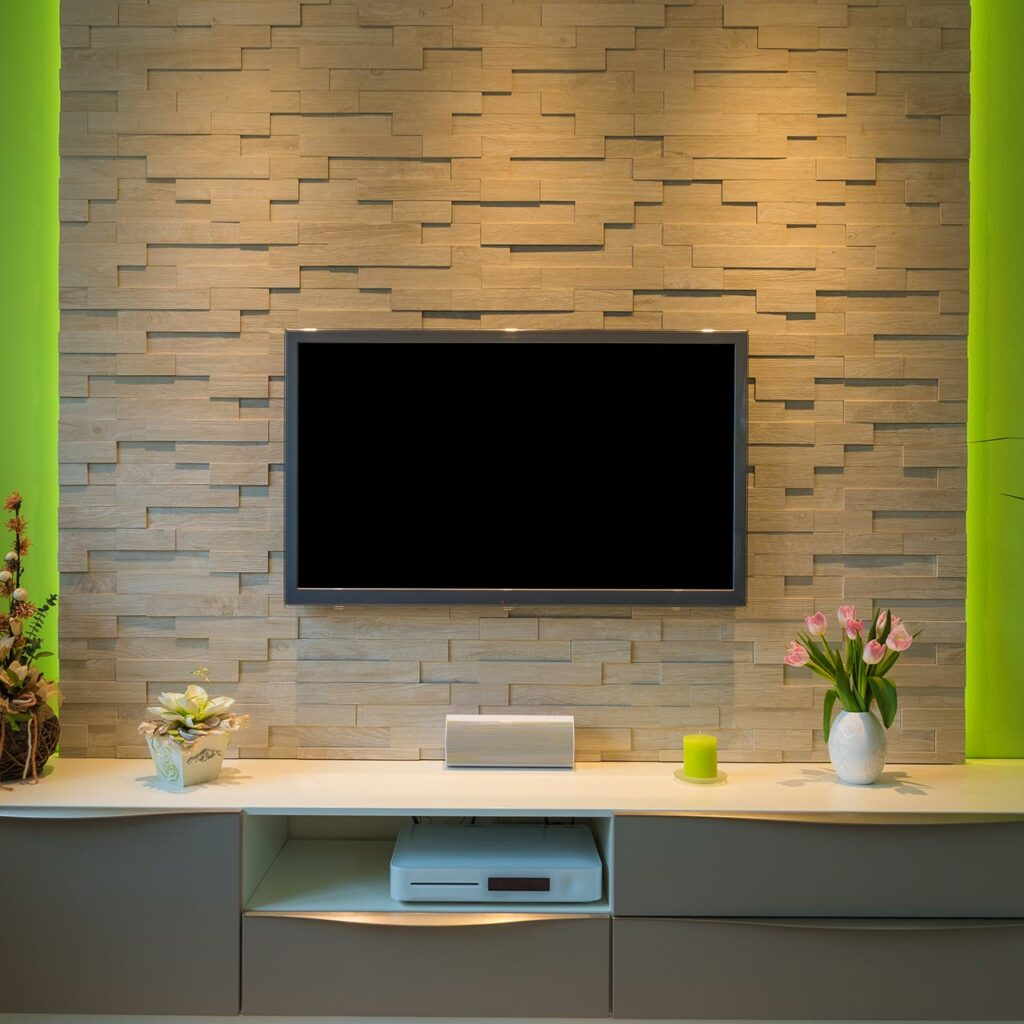 A Textured wall with LED TV mounted in it