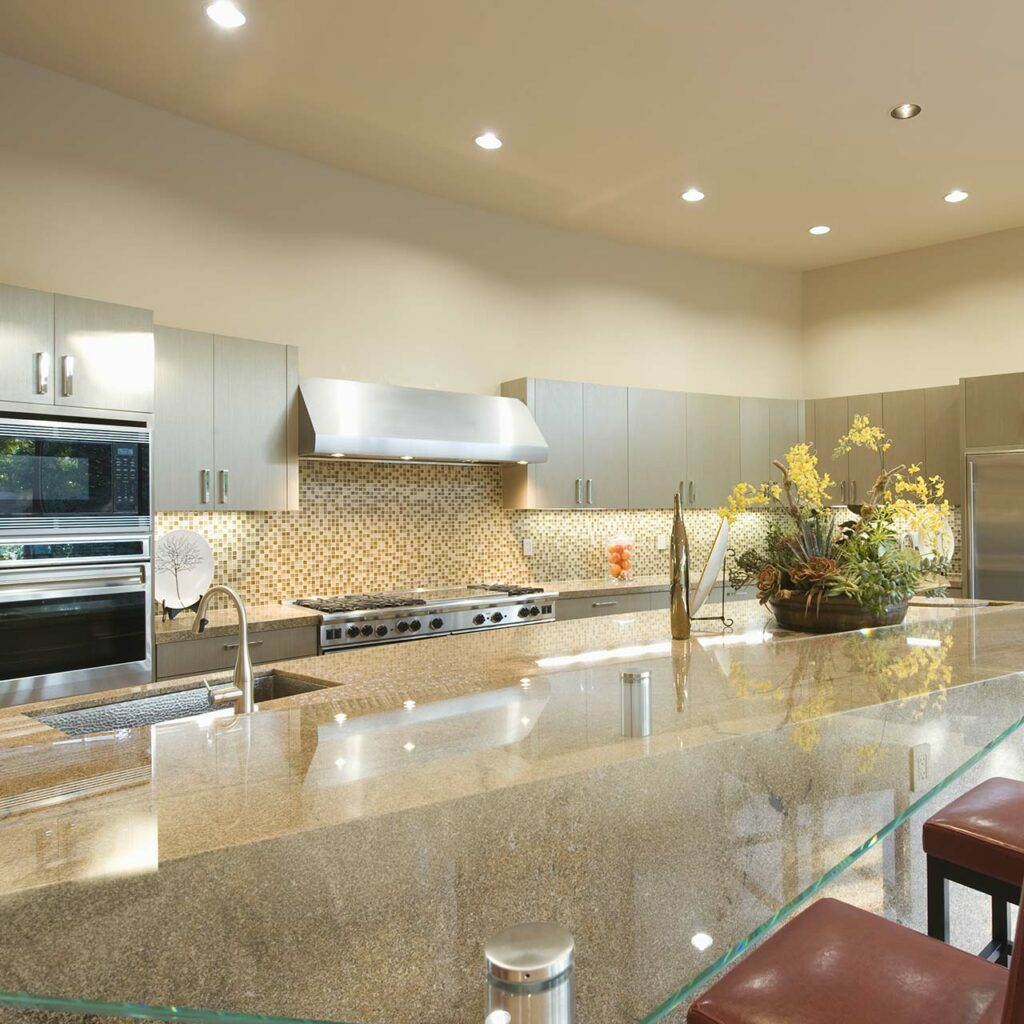 LED Recessed Lighting Design For Pop Ceiling In Kitchen