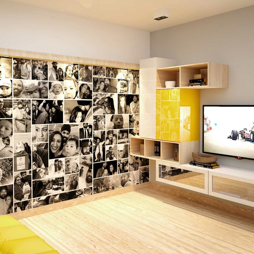 Personalize Your Living Room With Family Photographs On Walls