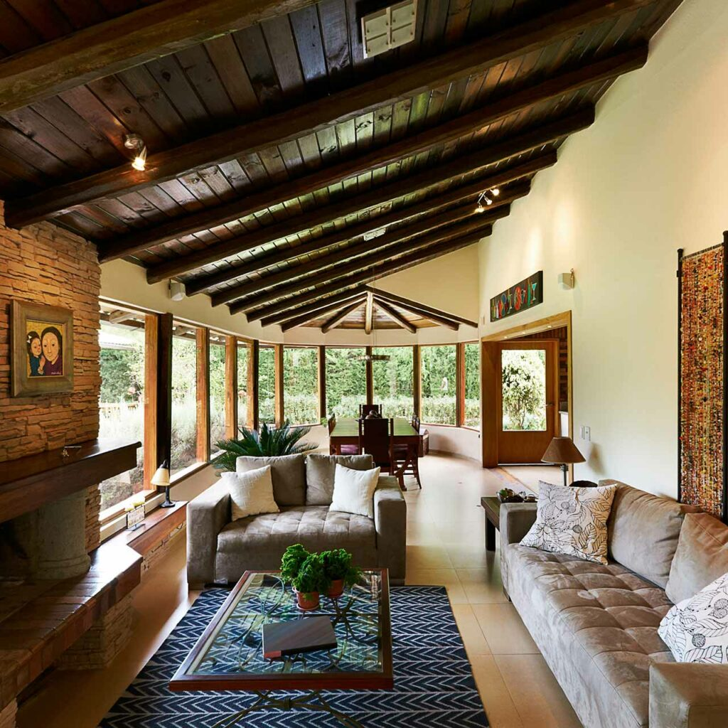 Wooden Beams For Ceiling Stone Textured Wall These Palletes Makes Rustic Style