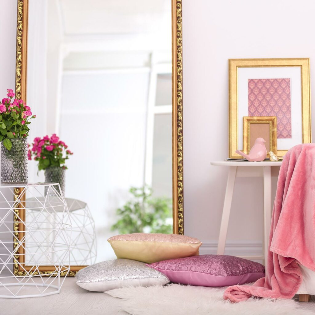 Use mirror to glam up space to make budget friendly home interior
