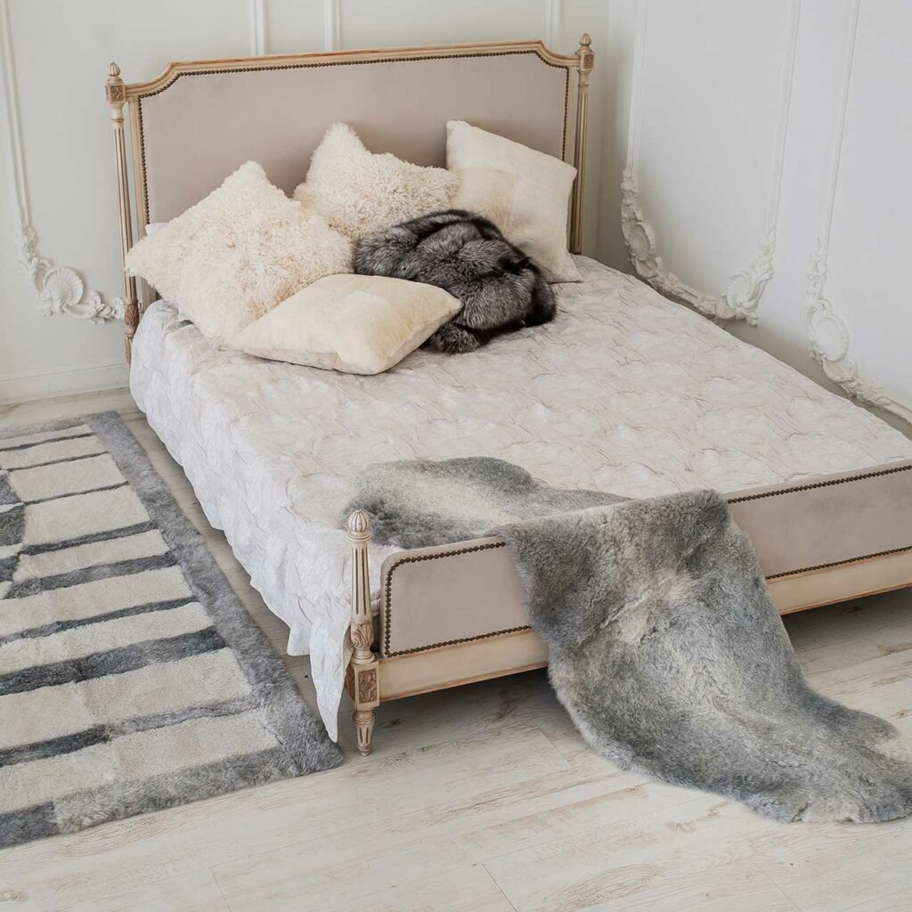 Budget friendly home interior with texture up room with sheepskin rugs pillows