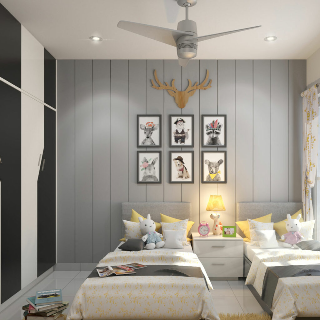 Kids Bedroom Paint Ideas - Colour your childrens bedroom with neutral shades like White, Ivory and Brown.