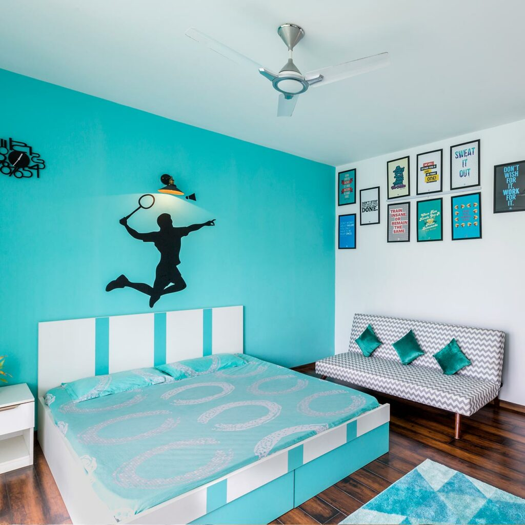Kids Bedroom design ideas for small spaces - choose Blue, Teal, Green and Turquoise for Kids room colours.