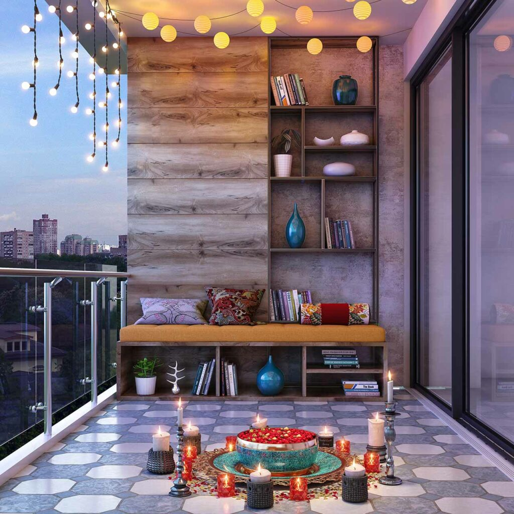 Decorate your balcony using chandeliers, lantern, starry lights and more using Design Cafe's Diwali Lighting Ideas for Balcony