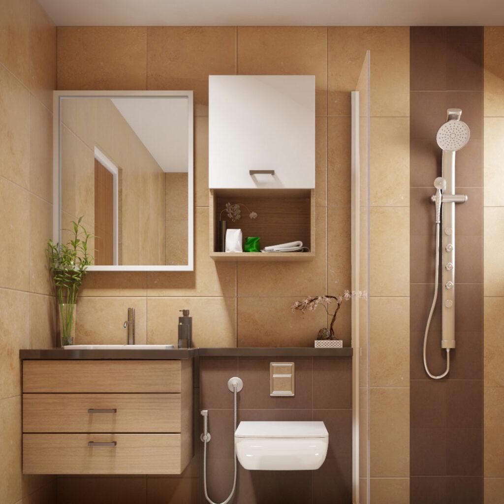 A Bathroom with good storage