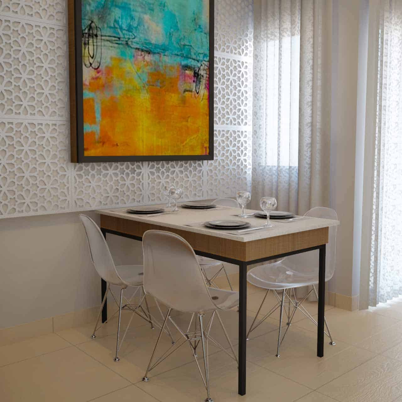 Modern dining table design which makes a minimalistic dining room the perfect place to enjoy a meal in a dining room