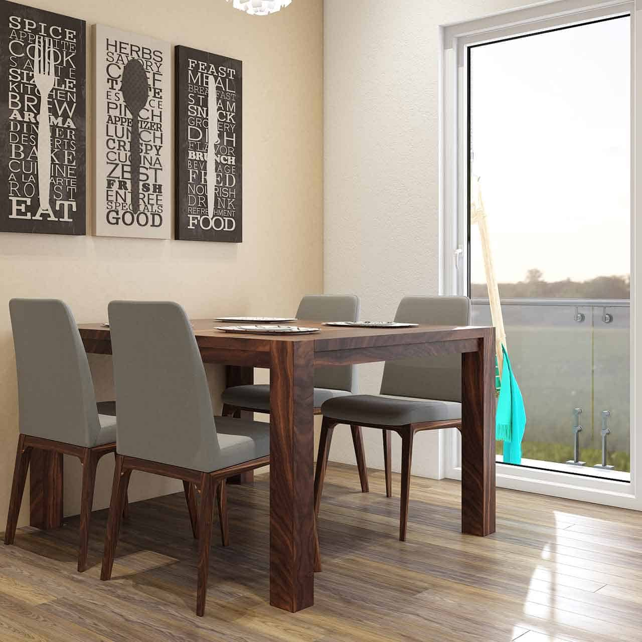 Simple dining room design where light tables and chairs that aren't bulky are ideal for simple dining room design styles