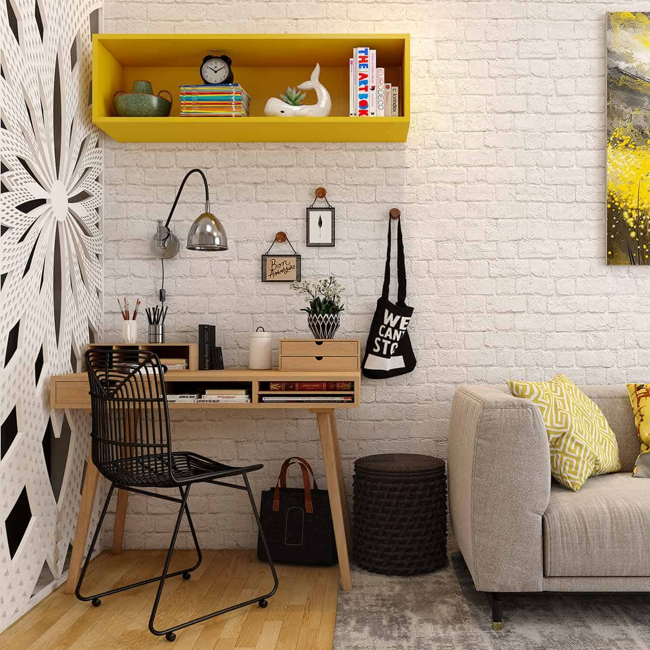 modern study room ideas where many desks are designed with inbuilt shelves and drawers in a way for study room interior design