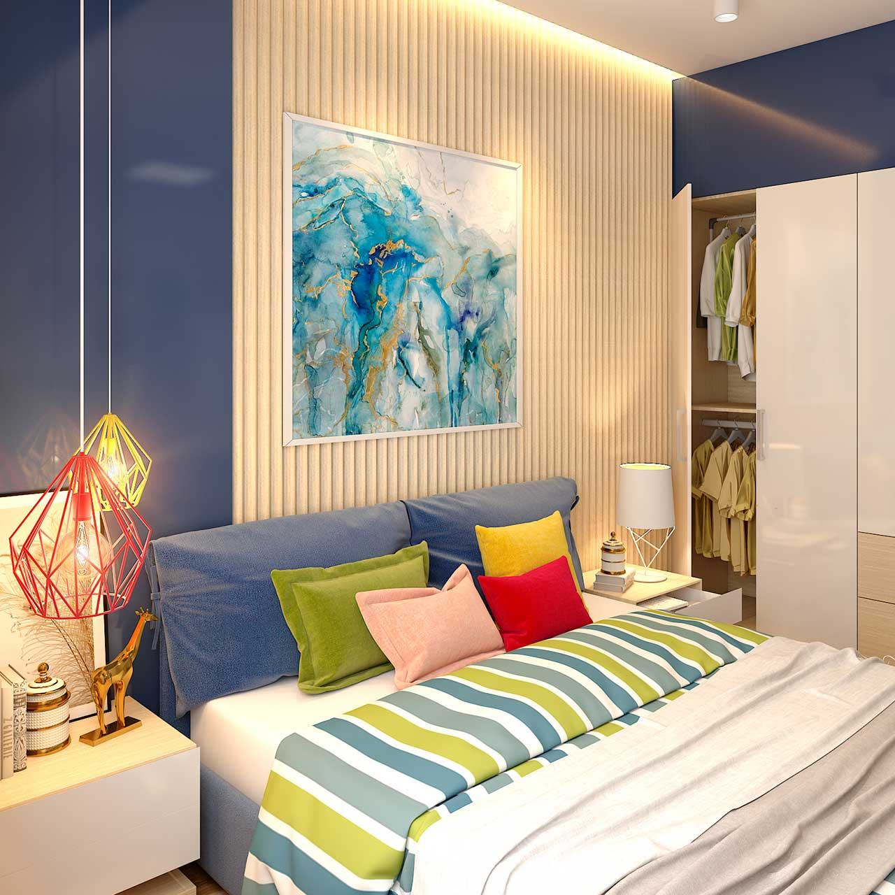 Eclectic Style Apartment Interior Bedroom Design