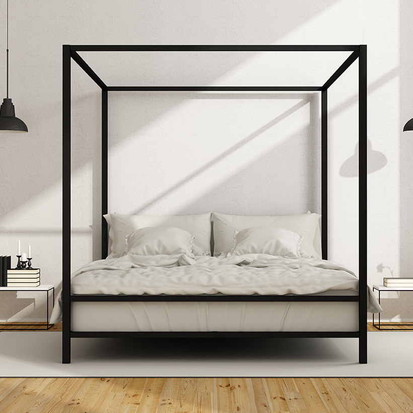 Big canopy bed or a murphy bed are good choices for modern small bedroom interiors