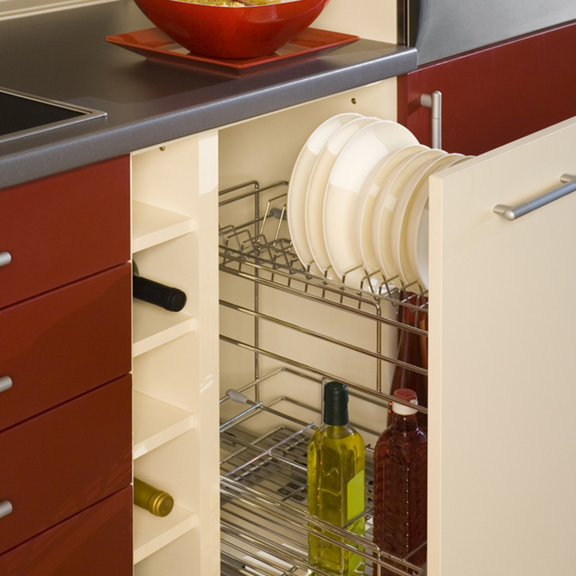 Kitchen cabinet organizers with pull out mechanism to put trays and plates in the top and bottles storage in the bottom for kitchen  counter organization