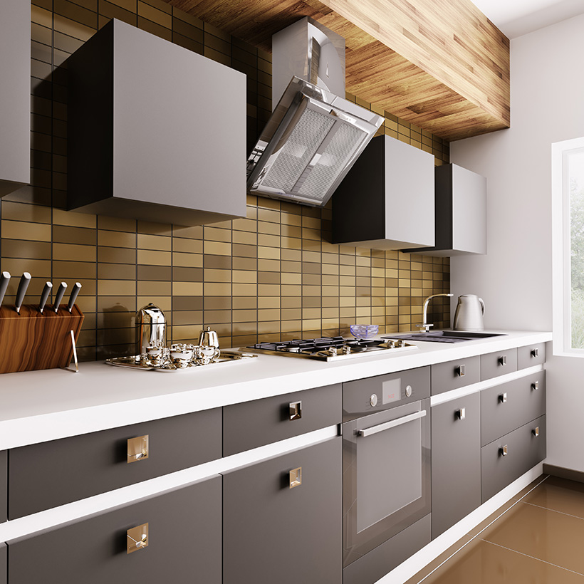 3d tiles for kitchen with small rectangles and wooden finish in the backsplash with matching dark yellow colours in modern kitchen tiles