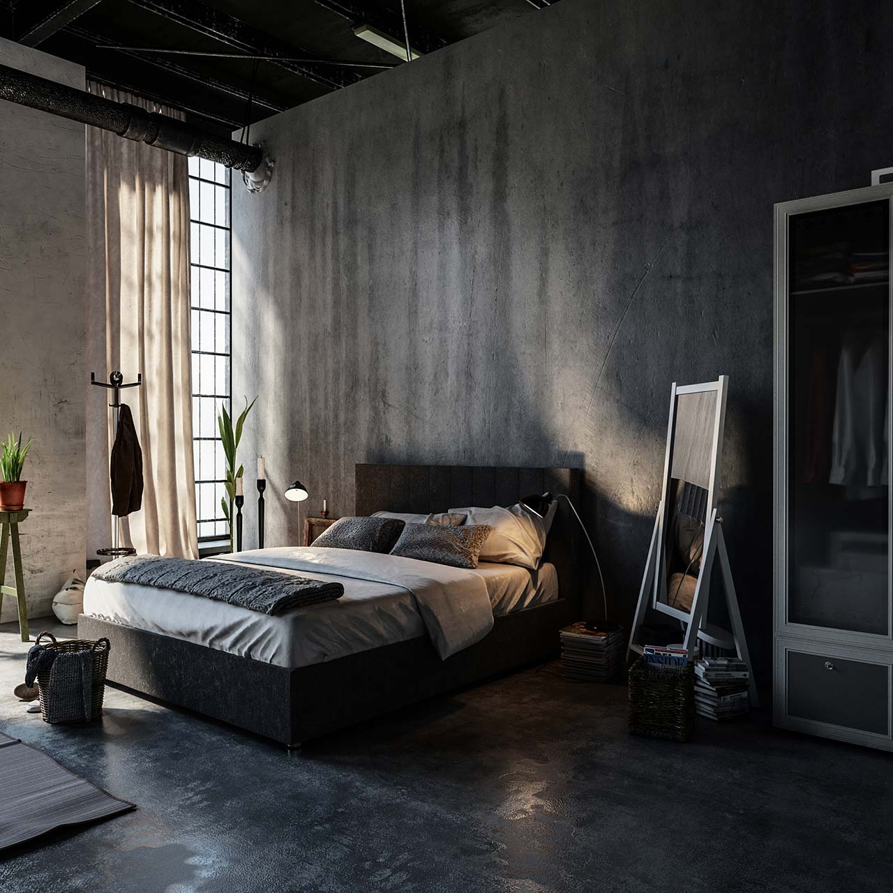 fabulous flooring idea for industrial style bedroom design