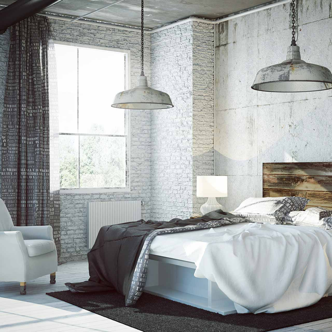 Simplicity adorns the uniqueness for industrial style bedroom design
