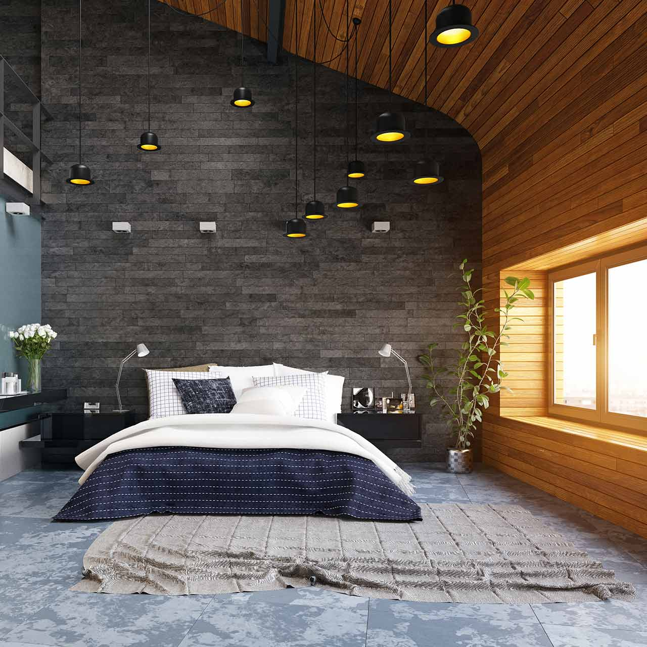 wooden ceiling frames concrete walls for industrial style bedroom design