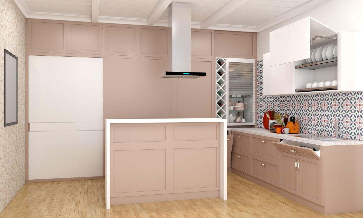 An island kitchen in a minimal modular kitchen design.