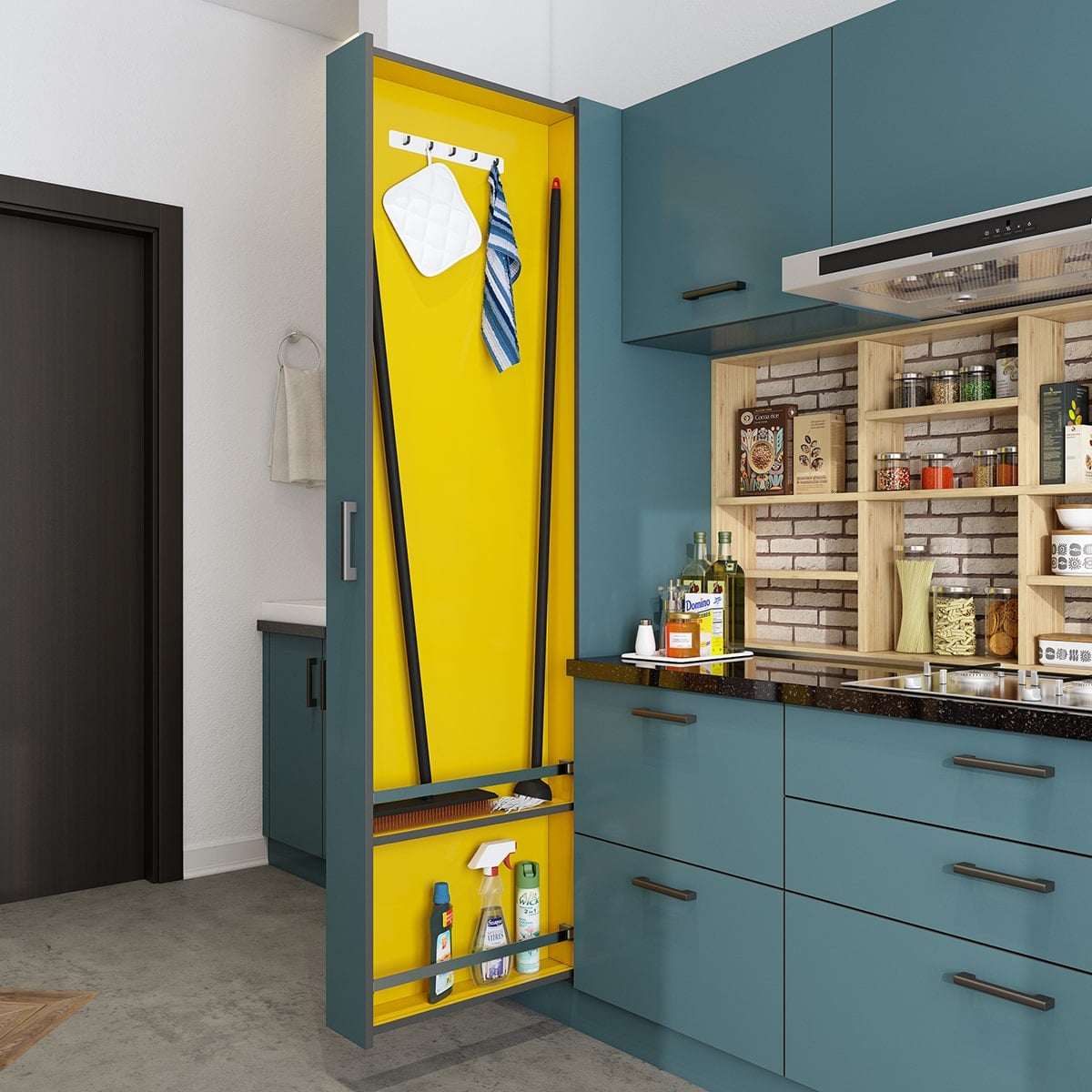 Kitchen Space Saving Janitor Pull Out Unit in simple kitchen design for small space